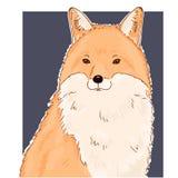 Illustrazione del fronte animale della volpe Ritratto sveglio della volpe rossa di vettore Ritratto selvaggio rosso della volpe d illustrazione vettoriale
