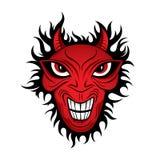 Illustrazione del fronte di orrore del demone del diavolo Fotografia Stock