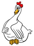 Illustrazione del fumetto del carattere dell'animale da allevamento della gallina Fotografia Stock