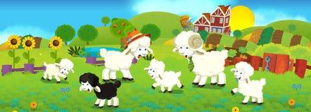 Scena di fiaba del fumetto illustrazione per i bambini - La pagina della colorazione delle pecore smarrite ...