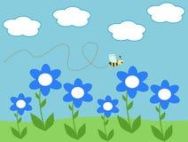 Illustrazione del fumetto dei fiori della margherita e dell'ape Fotografie Stock Libere da Diritti