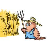 Illustrazione del fumetto del campo di grano dell'agricoltore dell'uccello del passero Immagini Stock Libere da Diritti
