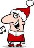 Illustrazione del fumetto del canto natalizio di canto di Santa Immagini Stock Libere da Diritti