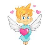 Illustrazione del fumetto del carattere del cupido per il giorno del ` s del biglietto di S. Valentino della st fotografia stock libera da diritti
