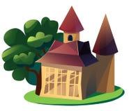 Illustrazione del fumetto del cottage di estate su fondo bianco isolato Immagine Stock