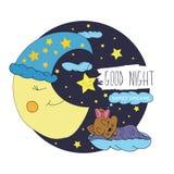 Illustrazione del fumetto del disegno della mano di una luna sorridente, delle stelle e dei bambini addormentati desideranti buon Immagini Stock