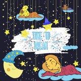 Illustrazione del fumetto del disegno della mano di una luna sorridente, delle stelle e del bambino addormentato Tempo di sognare Fotografia Stock Libera da Diritti