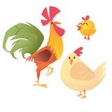 Illustrazione del fumetto del gallo, della gallina e del pollo, isolati su bianco Vettore Immagine Stock