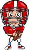 Illustrazione del fumetto del giocatore di football americano del ragazzo Immagine Stock