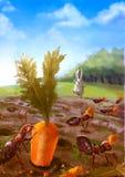 Illustrazione del fumetto del gruppo di formiche rosse che mangiano carota illustrazione vettoriale