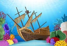 Illustrazione del fumetto del naufragio sull'oceano Fotografia Stock