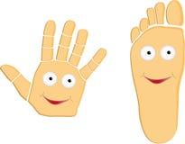 Illustrazione del fumetto del piede e della mano Fotografia Stock Libera da Diritti