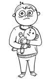 Illustrazione del fumetto del ragazzo spaventato in pigiami che tengono Teddy Be Immagini Stock Libere da Diritti