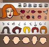 Illustrazione del fumetto dell'insieme di elementi del fronte della donna Fotografie Stock