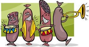 Illustrazione del fumetto della banda delle salsiccie Fotografie Stock Libere da Diritti