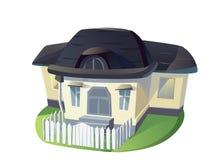 Illustrazione del fumetto della casa della famiglia su fondo bianco isolato Fotografie Stock Libere da Diritti