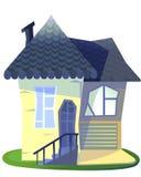 Illustrazione del fumetto della casa della nonna su fondo bianco isolato Fotografia Stock