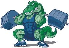 Illustrazione del fumetto della mascotte dell'alligatore di sollevamento pesi Fotografia Stock