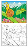 Illustrazione del fumetto della pagina di coloritura della lumaca per i bambini Fotografia Stock