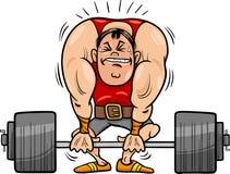 Illustrazione del fumetto dello sportivo di sollevamento pesi Immagini Stock