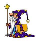 Illustrazione del fumetto dello stregone del mago Fotografia Stock Libera da Diritti