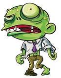 Illustrazione del fumetto dello zombie verde sveglio Fotografia Stock