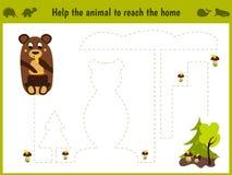 Illustrazione del fumetto di istruzione Il gioco della corrispondenza affinchè i bambini in età prescolare tenga un animale selva illustrazione vettoriale