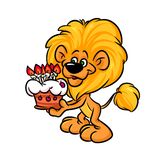 Illustrazione del fumetto di Lion Birthday Cake Fotografie Stock