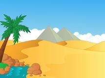 Illustrazione del fumetto di piccola oasi nel deserto Fotografia Stock Libera da Diritti