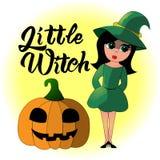 Illustrazione del fumetto di piccola strega per Halloween illustrazione vettoriale