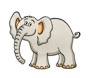Illustrazione del fumetto di piccolo elefante Fotografie Stock Libere da Diritti