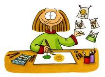 Illustrazione del fumetto di un artista Fotografia Stock