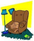 Gatto che dorme su una sedia Fotografia Stock Libera da Diritti