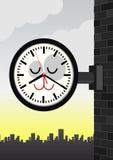 Illustrazione del fumetto di un orologio della stazione del gatto. illustrazione vettoriale