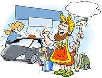 Illustrazione del fumetto di un pulitore dell'uomo Fotografie Stock Libere da Diritti