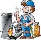 Illustrazione del fumetto di un Roofer lavorante felice che dà pollice su Immagine Stock Libera da Diritti