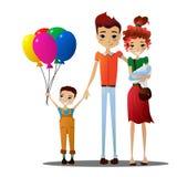 Illustrazione del fumetto di vacanza di famiglia di vettore con i personaggi dei cartoni animati variopinti della famiglia Immagini Stock