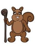 Illustrazione del fumetto di vecchio scoiattolo Fotografia Stock
