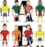 Illustrazione del fumetto di vettore dei calciatori, isolata Fotografie Stock