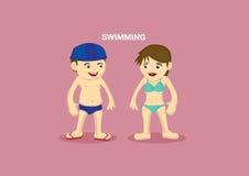 Illustrazione del fumetto di vettore dei nuotatori illustrazione vettoriale