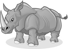 Illustrazione del fumetto di vettore del rinoceronte di alta qualità Immagini Stock Libere da Diritti