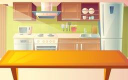 Illustrazione del fumetto di vettore dell'interno della cucina illustrazione di stock
