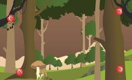 Illustrazione del fumetto di vettore di Forest Landscape Scene fotografia stock libera da diritti