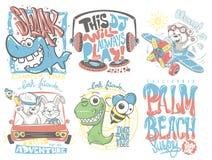 Illustrazione del fumetto di vettore messa progettazioni della maglietta dei bambini royalty illustrazione gratis