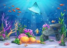 Illustrazione del fumetto di vettore undersea Immagine Stock Libera da Diritti