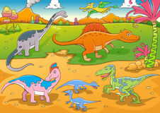Illustrazione del fumetto sveglio dei dinosauri Fotografia Stock Libera da Diritti