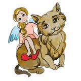 Illustrazione del gatto dei bambini Immagini Stock
