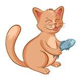 Illustrazione del gatto felice sveglio con un pesce nelle mani Personaggio dei cartoni animati Fotografia Stock Libera da Diritti