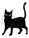 Illustrazione del gatto nero di tiraggio della mano Immagini Stock Libere da Diritti