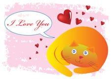Illustrazione del gatto ti amo Fotografia Stock Libera da Diritti